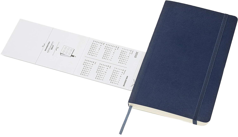 Moleskine - Agenda Diaria de 12 Meses 2020, Tapa Blanda y Goma Elástica, Tamaño Grande 13 x 21 cm, 400 Páginas, Azul Zafiro