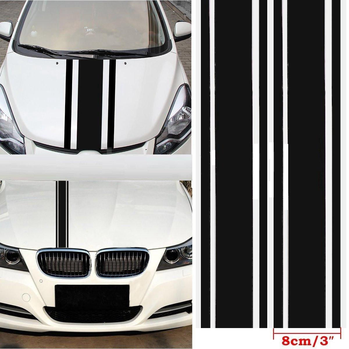 Cvanu car decal car body vinyl racing strip stickers black size 3 inch x 72 inch for maruti suzuki alto 800 amazon in car motorbike
