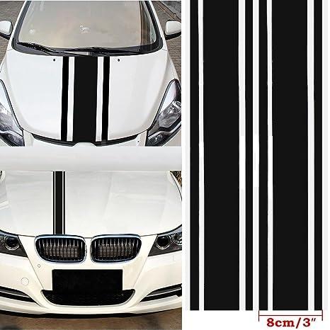 Cvanu Car Decal Car Body Vinyl Racing Strip Stickers Black Size