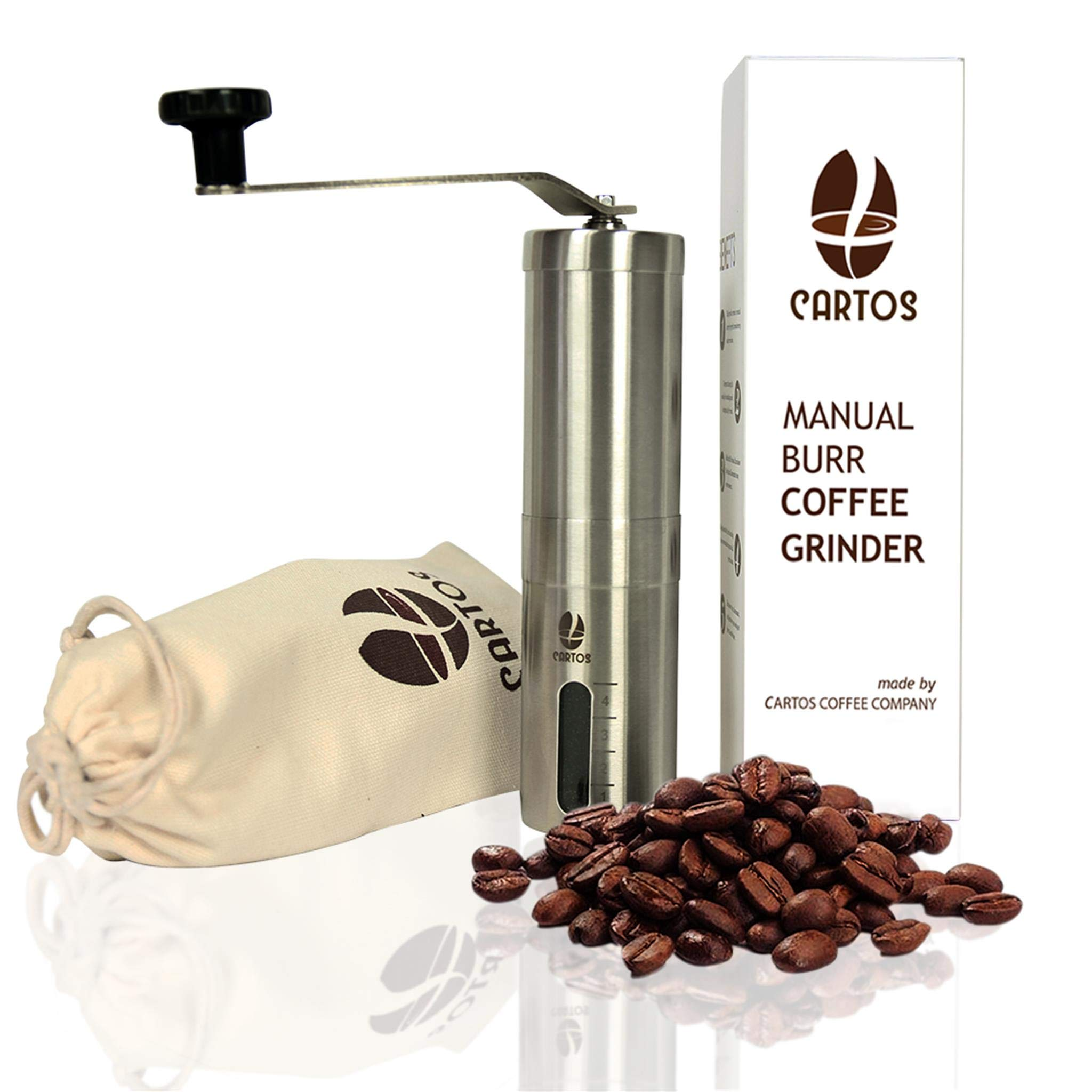 CARTOS Manual Coffee Grinder - Portable Hand Grinder - Conical Burr Mill PA 6 Ceramic - Stainless Steel Design - Perfect Traveling to brew PourOver, Drip, Chemex, Cold Brew, French Press