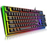 Gaming Keyboard , IVSO Semi Mechanical Gaming Keyboard - Led Breathing Rainbow Backlight Illuminated USB Wired Gaming Keyboard with 19 Anti Ghosting Key eSports gaming keyboard (104 Keys) for Mac and Windows