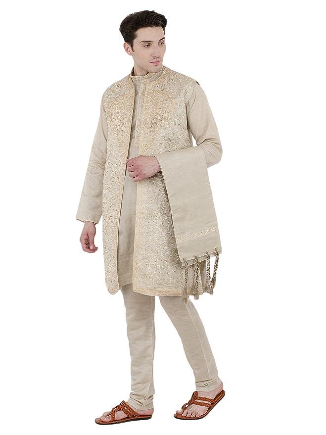 a9dc0aac23 Amazon.com: SKAVIJ Men's Embroidered Kurta Pajama Jacket and Stole Set:  Clothing