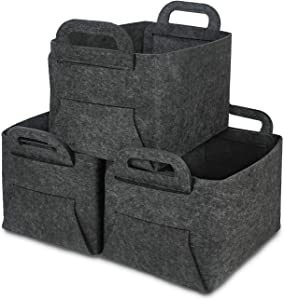 GOHOME Foldable Storage Baskets 3 Pack, Thickened Large Felt Baskets with Carry Handles, Closet Storage Bins for Clothes, Laundry, Books, Kids Toys and Pets Supplies - Dark Grey