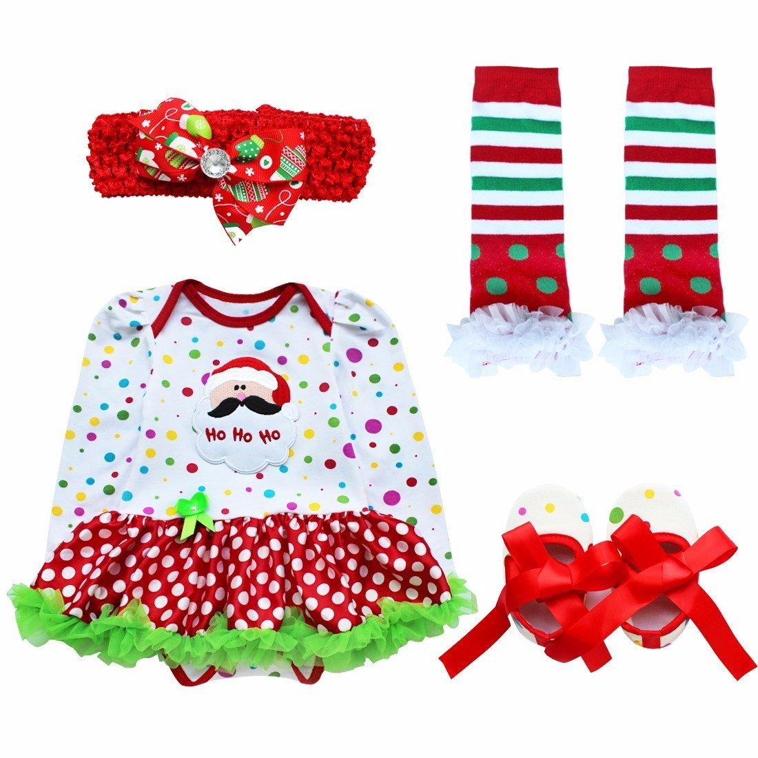 YiZYiF 4 Stück Neugeborenes Baby Mädchen Bekleidung Set Langarm Strampler mit Tütü Kleid Beinwärmer Schuhe Stirnband Weihnachtskostüm