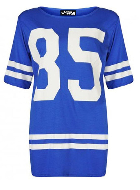 Para mujer de patinete 85 en la parte superior y de béisbol pantalones de balón de fútbol americano M T-camiseta de manga corta camiseta de fútbol para ...