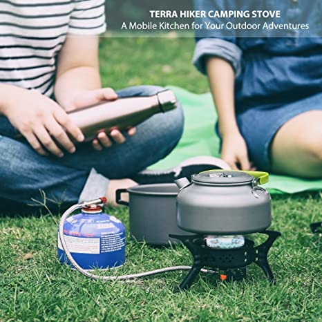Terra Hiker Estufa a Gas Portátil de Camping (Negro): Amazon.es: Deportes y aire libre