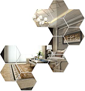 aooyaoo 3D Circle Mirror Wall Sticker Living Room Decoration (Silver 1)