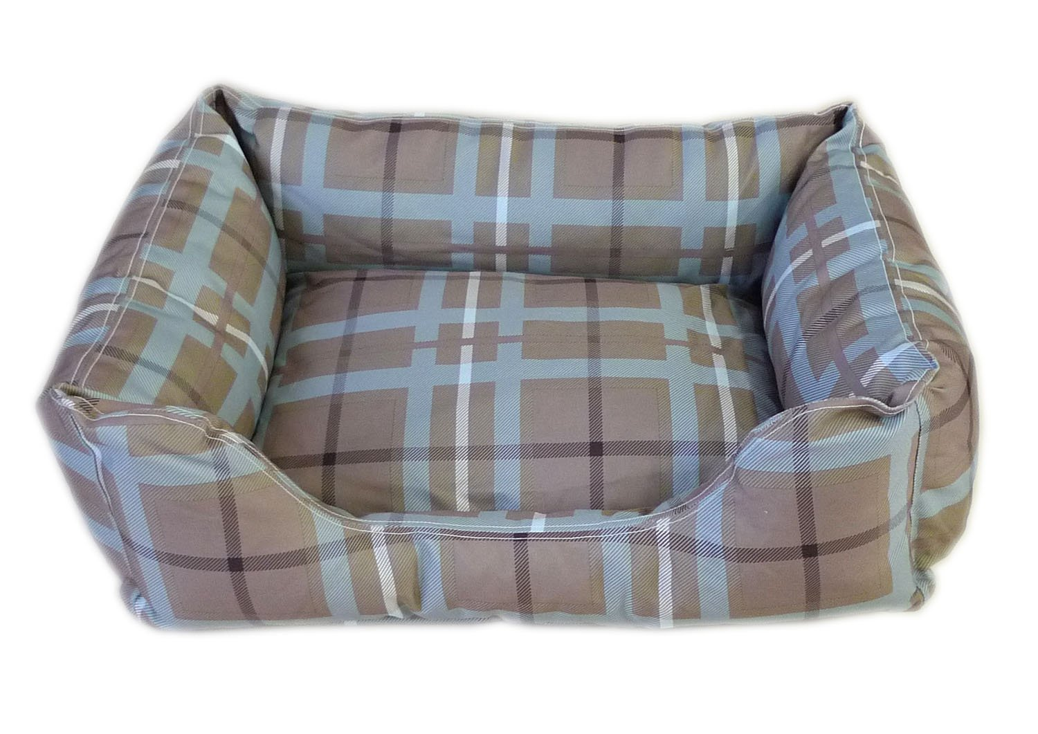 CPC Brutus Tuff 36 x 27 x 10-Inch Kuddle Lounge for Dogs and Cats, Large, bluee Brown Plaid