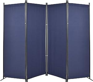 GOJOOASIS 4 Panel Room Divider Folding Privacy Screen Home Office Dorm Decor (Blue)