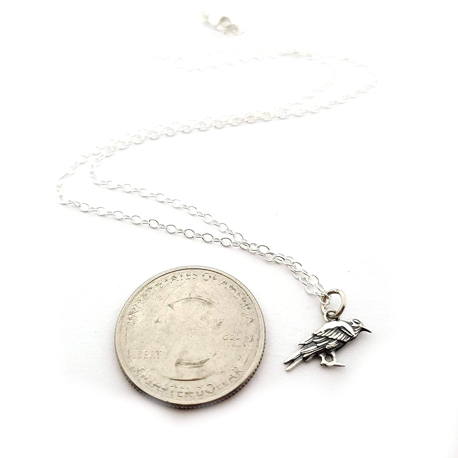 Sterling Silver Jewelry Tiny Raven Charm Necklace