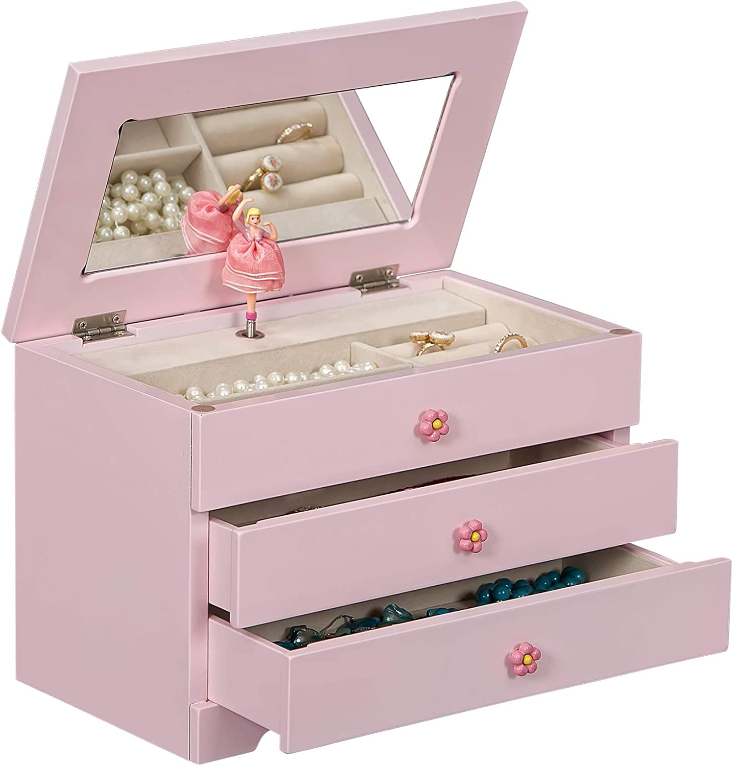 Mele & Co. Alice Girl's Wooden Musical Ballerina Jewelry Box in Pink