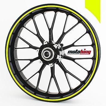Adhesivos Motoking para llantas 360 °, 4 mm de ancho, amarillo neón/rueda