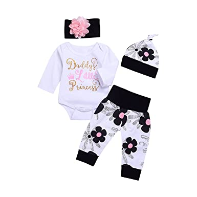 543f68b6d06b Infant Child Toddler Newborn Baby Girls Layette Set Print Romper+Plaid  Pants+Hat Headband