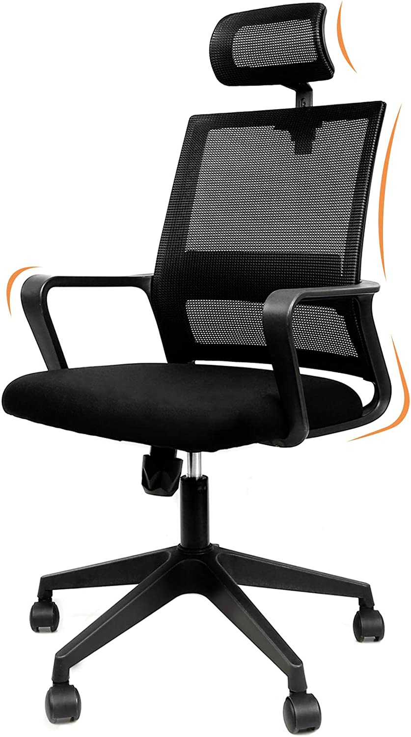 Home Office Chair Mesh, Mid Back Office Chair with Armrests Headrest Height Adjustable Ergonomic Desk Chair Lumbar Support Computer Chair BIFMA Certified