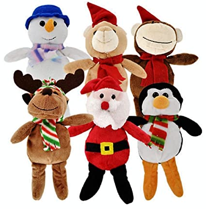 Christmas Toys.Christmas Stuffed Plush Animals Santa And Snowman Toys 6 Ct Set By Christmas House