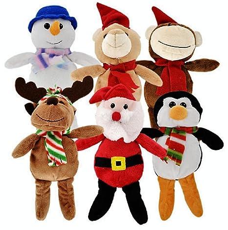 christmas stuffed plush animals santa and snowman toys 6 ct set by christmas - Christmas Stuffed Animals