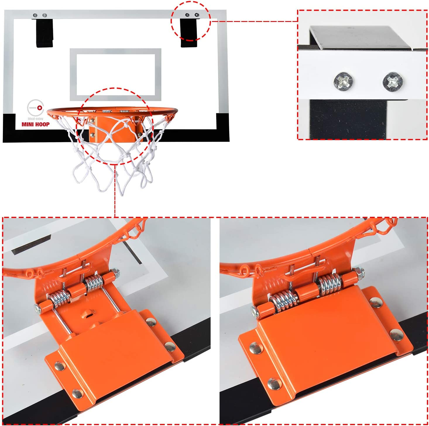 IdealEnjoy Mini Basketball Hoop System Kids Goal Over The Door Wall Indoor Sports with Ball