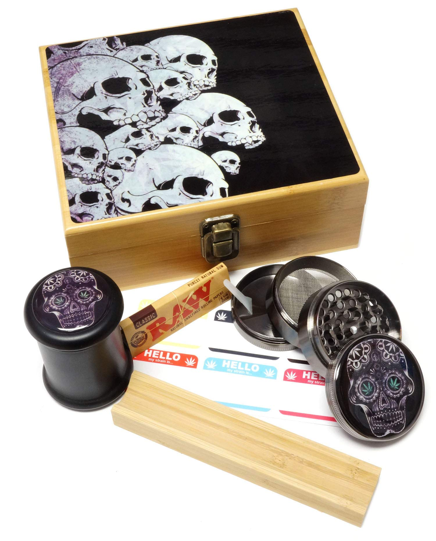 Skull Design - Large size Sacred Geometry Stash Box with Latch, Grinder & Pop Top Glass Jar Package & Free Accessories Item# LBCS020818-6 by Cali Factory