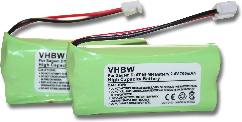 Set x2 baterías vhbw 700mAh para teléfono Fijo inalámbrico Sagem D16T, D16T Duo, D16T Duo 2, D18T, D21T, D21V por 2SN-AAA55H-S-JP1