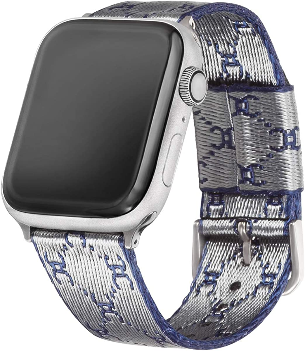 EverSnows Nylon Bands Compatible with Apple Watch Women Man, Soft Breathable Woven Strap with Pattern Replacement for iWatch Series 6/5/4/3/2/1 Bands