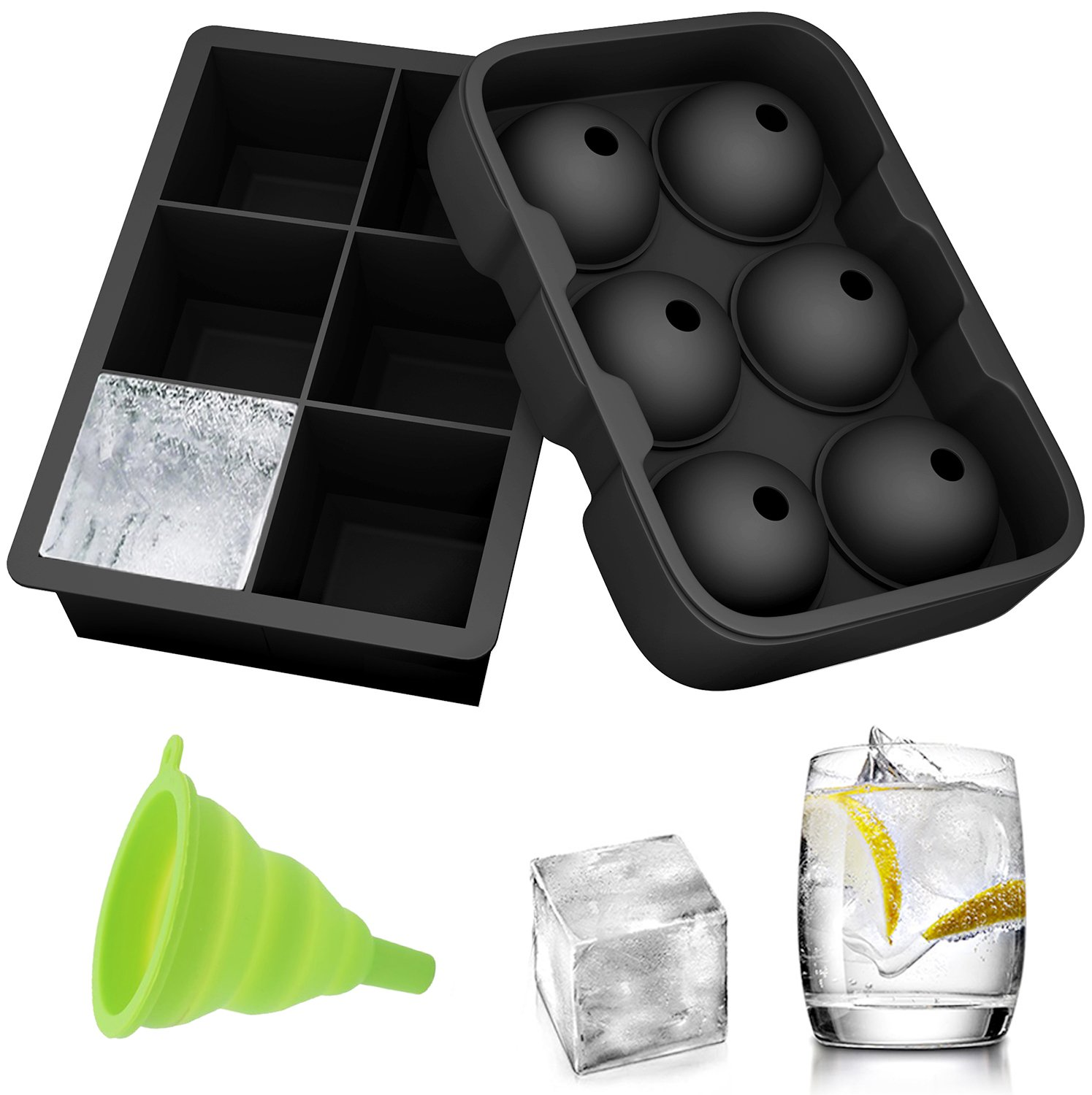 Ozera 2 Pack Silicone Ice Cube Molds, Ice Cube Trays Set - Sphere Round Ice Ball Maker & Large Square Ice Molds with 1 Plastic Funnel