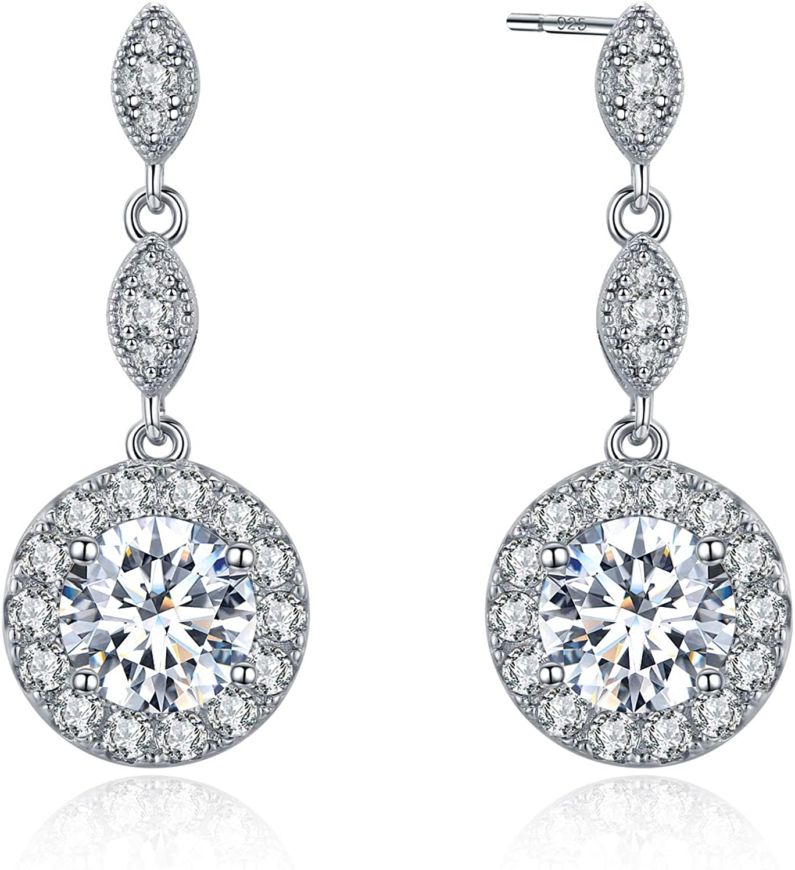 Lange Ohrstecker mit Zirkonia Rosa Echt 925 Silber Damen Geschenkidee # 48