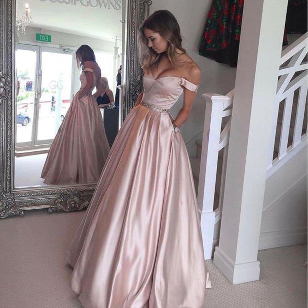 Harsuccting Off The Shoulder Beaded Satin Evening Prom Dress with Pocket - Blue -: Amazon.co.uk: Clothing