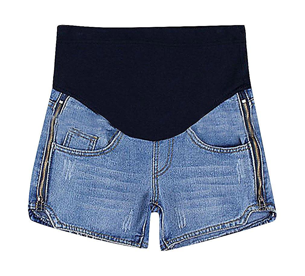 MTRNTY Women's Maternity Stylish Elastic Waist Denim Shorts Fashion Jeans Zipper, Medium
