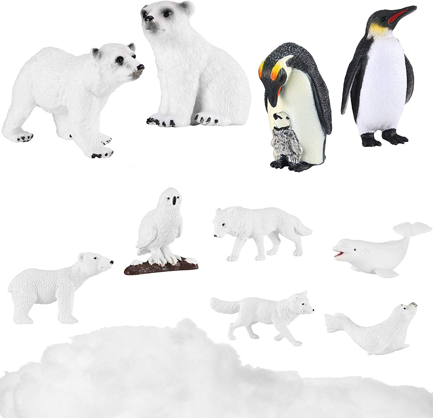10 Pieces Polar Animal Figurines Set Realistic Arctic Figures Animal Figures Toys Including Artificial Fake Snow Decor Penguin Seal Dolphin Christmas Toys for Boys and Girls
