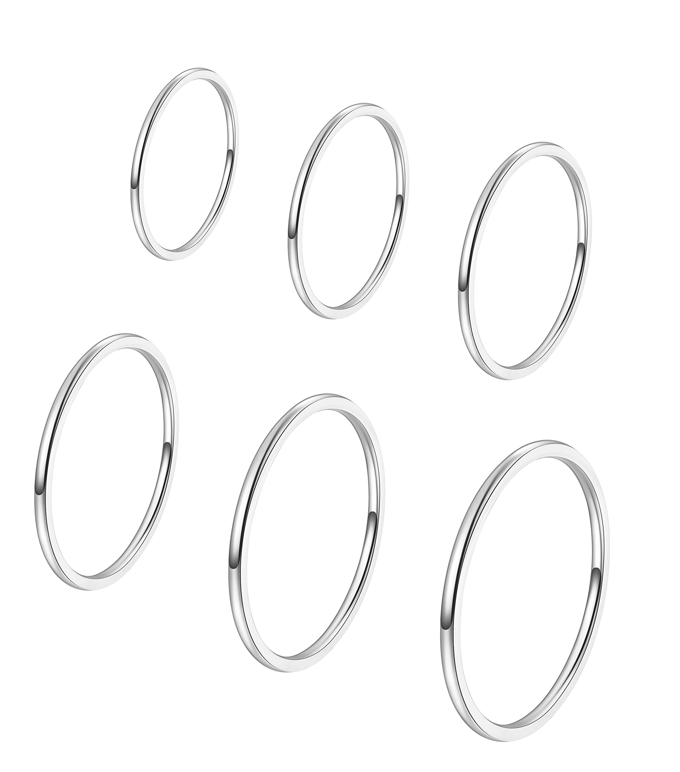 ALEXTINA Women's Set of 6 Stainless Steel 1MM Thin Midi Silver Stacking Rings Plain Band Dome Finish Size 4 to 9