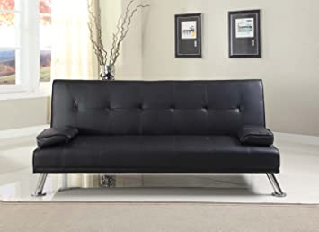Outstanding Comfy Living Large Stunning Italian Designer Faux Leather 3 Seater Sofa Bed Futon In Black Creativecarmelina Interior Chair Design Creativecarmelinacom