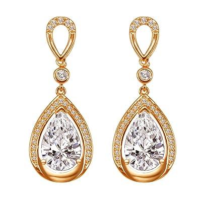 Geschenk Elegant Neu Ohrringe Ohrstecker Tropfen Form Frauen Künstliche Kristall