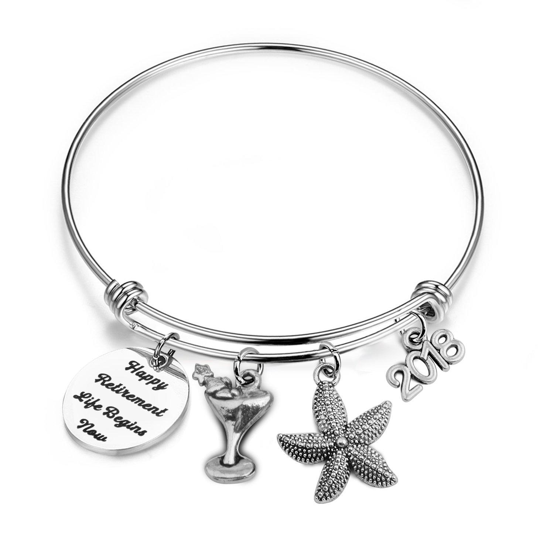 bobauna 2018 Retirement Gift Happy Retirement Expandable Wire Bangle Bracelet Thank You Gift For Mother Teacher Nurse (retirement bracelet)