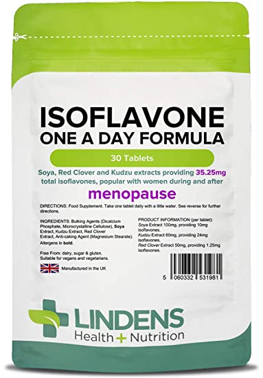 Isoflavones soy/soya + red clover - Safe Natural HRT alternative for  menopause