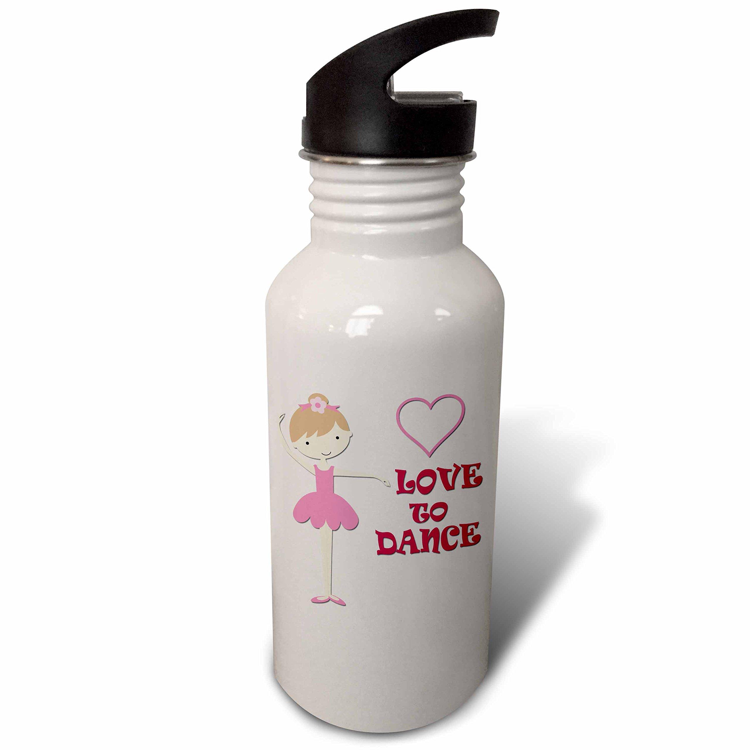 3dRose wb_266061_2 I Love to Dance Little Girl Heart Pink Straw Water Bottle