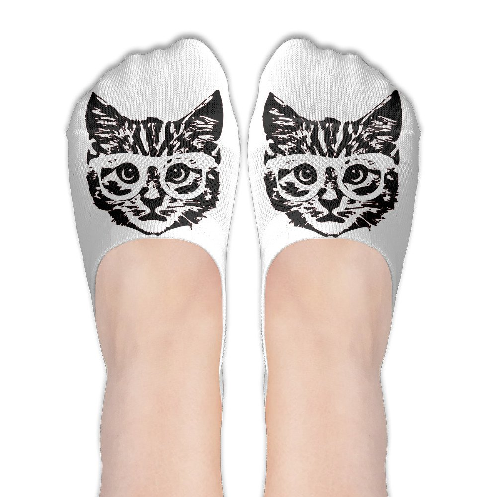 Hipster Kitten Baby Cat With Glasses Womens Thin Casual No Show Socks Non Slip Flat Boat Line