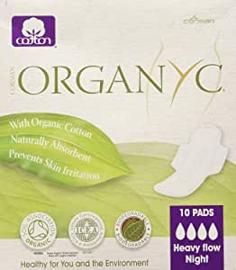 Organyc Ultra Thin Pads, Heavy Wings, 10 count