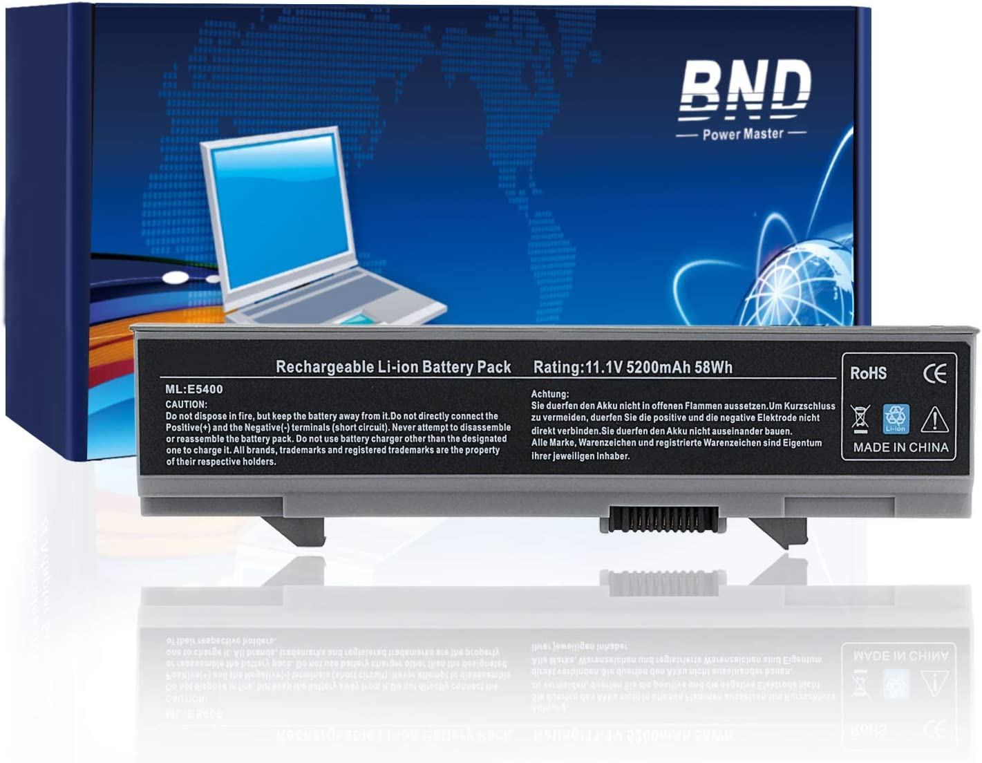 BND KM742 Laptop Battery Replacement for Dell Latitude E5400 E5410 E5500 E5510 Series, fits P/N WU841 T749D KM668 KM769 KM771 PW640 [6-Cell Li-ion 5200mAh/58Wh]