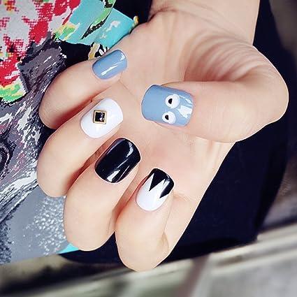 aukmla uñas postizas con pegamento Sakura Artificial uñas Oval Cruz Squint uñas postizas de colores para