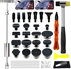 YEUXCORP Dent Removal Tool Kits for Auto Body Hail Damage Remover Paintless Dent Repair Slide Hammer T-Bar Dent Puller Tool Sets 16pcs Dent Repair Pulling Tabs…