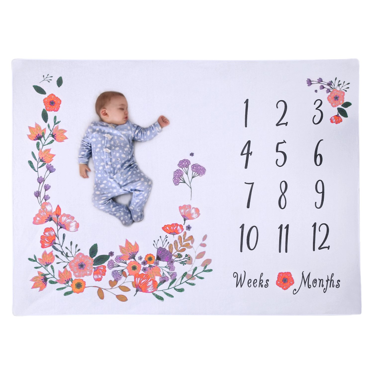 PrimBella Baby Monthly Milestone Blanket - Photography Backdrop Photo Prop for Girls - Perfect Baby Shower Gift for New Moms - Reusable Premium Fleece Baby Blanket - Extra Soft Large 50 x 40 Size