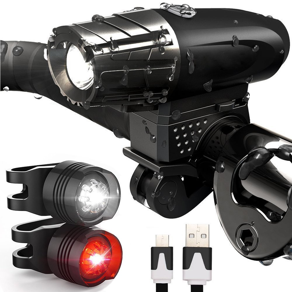 Werded Bike Light Set, Bike Front Light and Rear Light, Super Bright USB Rechargeable Waterproof LED Cycle Light, IPX 4 Waterproof 4 Modes Cycling Light Flashlight Torch With 2 Tail Lights