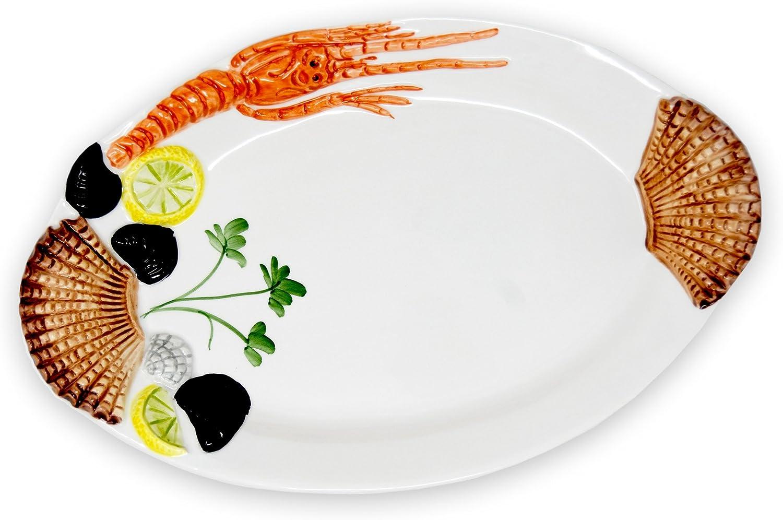Fisch-Platte Servierteller für Fisch und Meeresfrüchte Keramik 34 cm