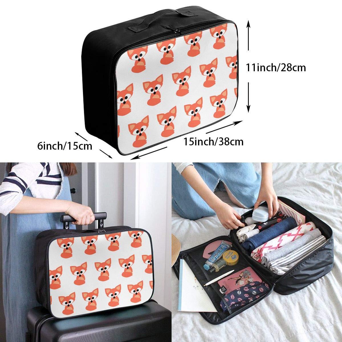 Travel Luggage Duffle Bag Lightweight Portable Handbag Cute Fox Pattern Large Capacity Waterproof Foldable Storage Tote