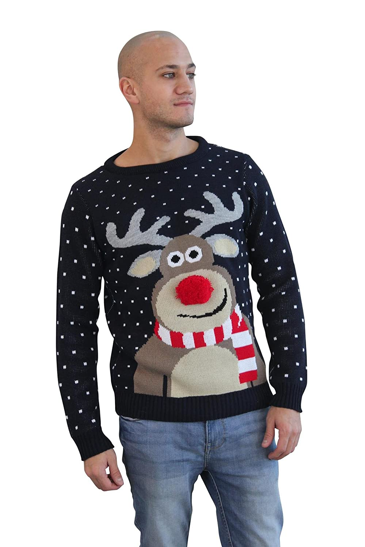 Christmas Novelty Reindeer Fairisle Snowflake Knitted Xmas Jumper ...