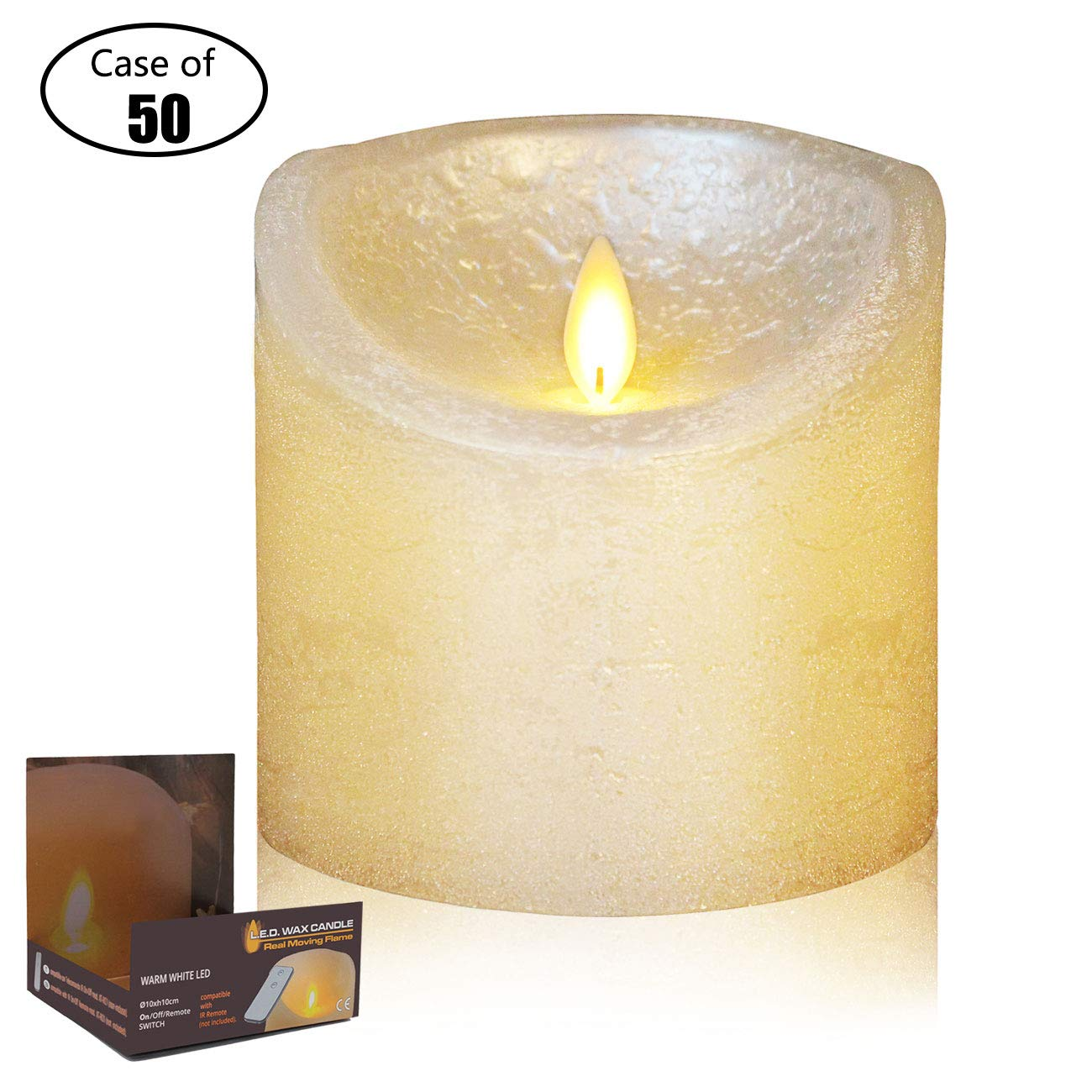 Case of 50, NB BILIGHT Dancing Flame H4'' xD4'' Battery Operated LED Candles Decorative Real Wax Pillar with Remote Control, Flameless Candles