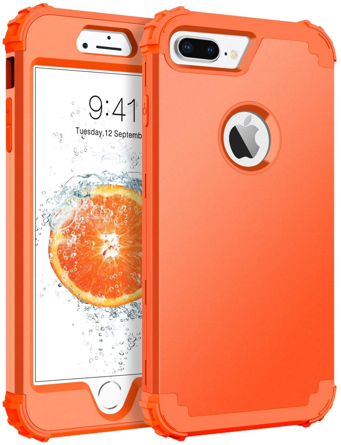 BENTOBEN Case for iPhone 8 Plus, iPhone 7 Plus Case, 3 in 1 Hybrid Hard Plastic Soft Rubber Heavy Duty Rugged Bumper Shockproof Full-Body Protective Phone Cover for iPhone 8 Plus/7 Plus, Coral Orange