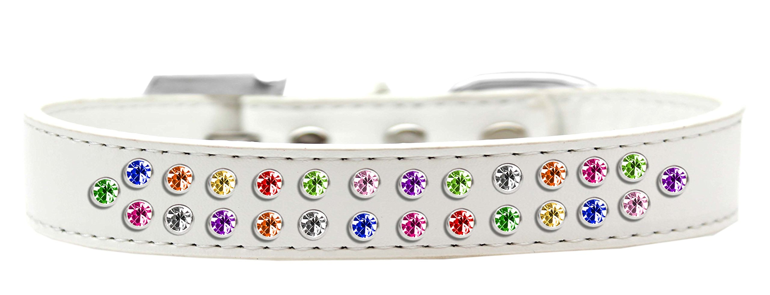 Mirage Pet Products Two Row Confetti Crystal White Dog Collar, Size 20 by Mirage Pet Products