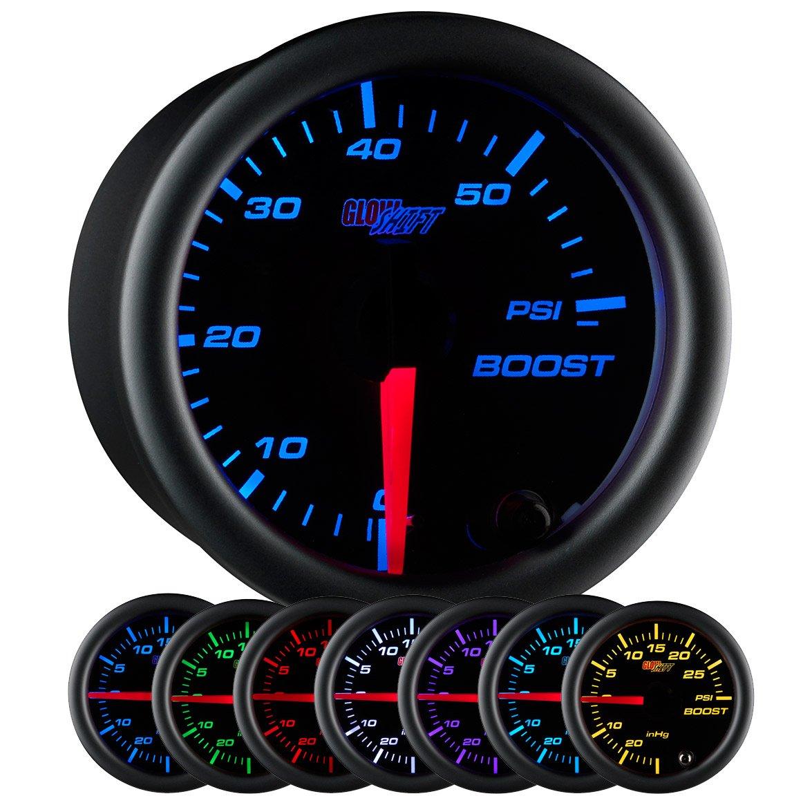 2-1//16 52mm Black Dial For Diesel Trucks Clear Lens GlowShift Black 7 Color 60 PSI Turbo Boost Gauge Kit Includes Mechanical Hose /& Fittings