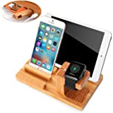 Apple Watch Stand,Phone Stand,Ptuna Bamboo Wood Charging for iPhone,Smart Phone,Apple Watch With 4 Ports USB HUB